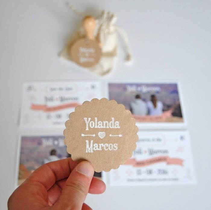 Papelería de boda Yoli y Marcos, detalle etiquetas